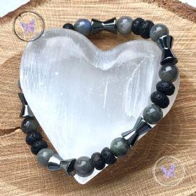 Men's Labradorite, Lava Stone & Hematite Bracelet
